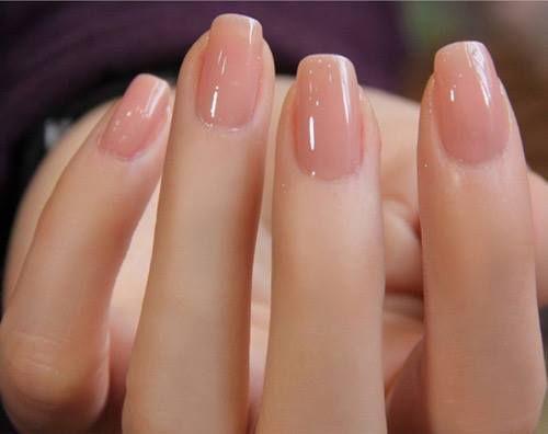Glossy nails.