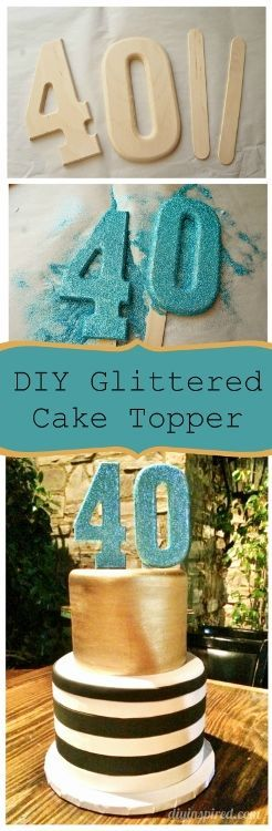 DIY Glittered Number Cake Topper