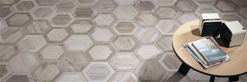 Porcelain Hexagon 8 Inch Isla Wood Look Tile White Inlay