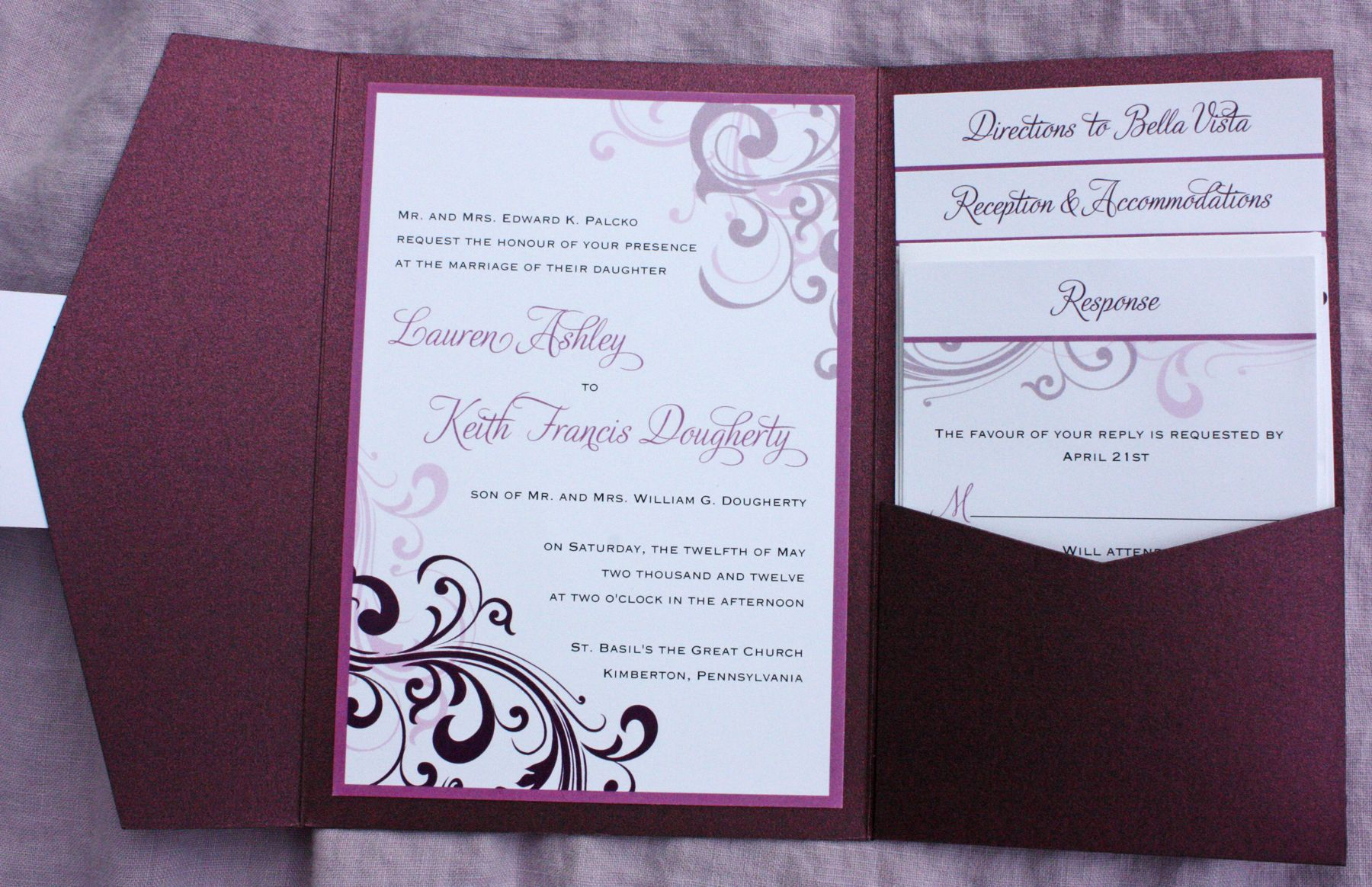 Eggplant, Merlot, Sangria, Lavender & Blush Pink Swirl Pocketfold Wedding Invitations