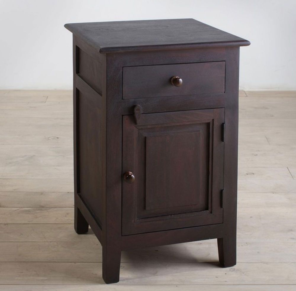 End Table Night Stand Wood Furniture Handcarved Small Bedside Cabinet Door India #India #Handmade