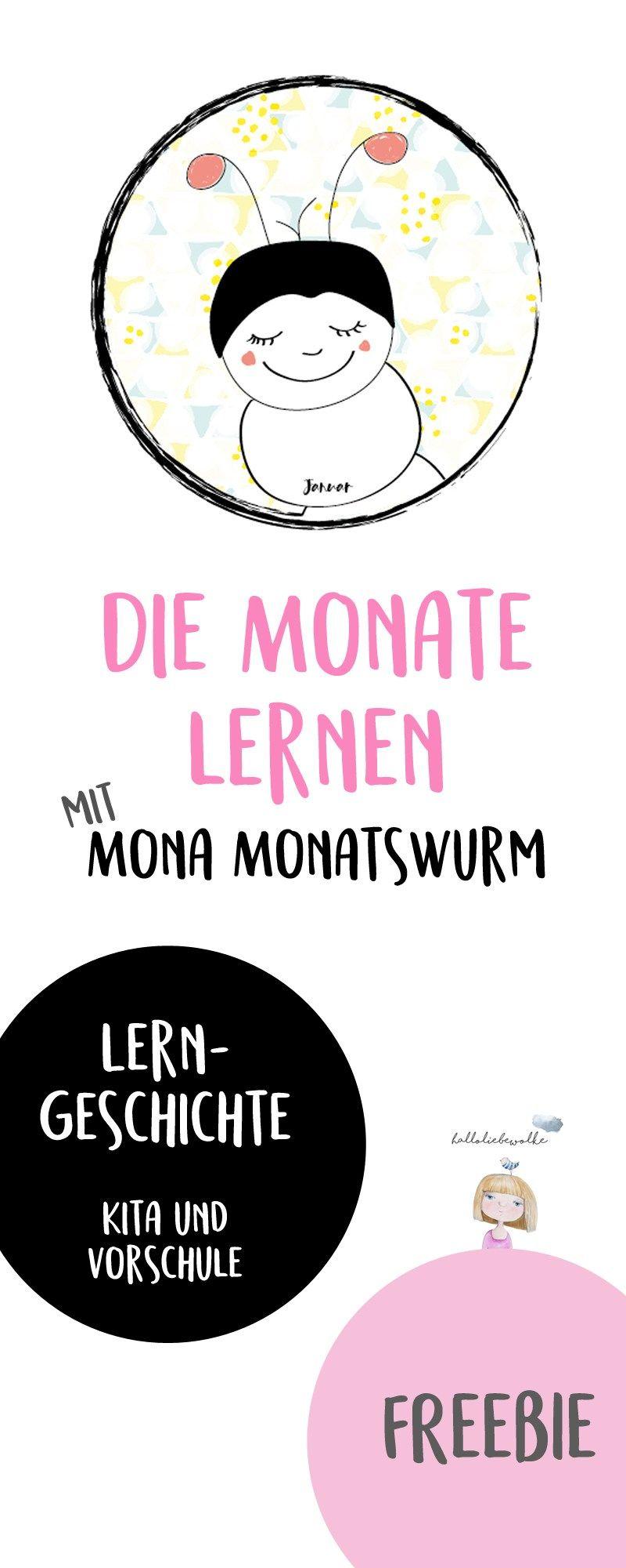 Die Monate lernen mit Mona Monatswurm {Lerngeschichte & Printable ...