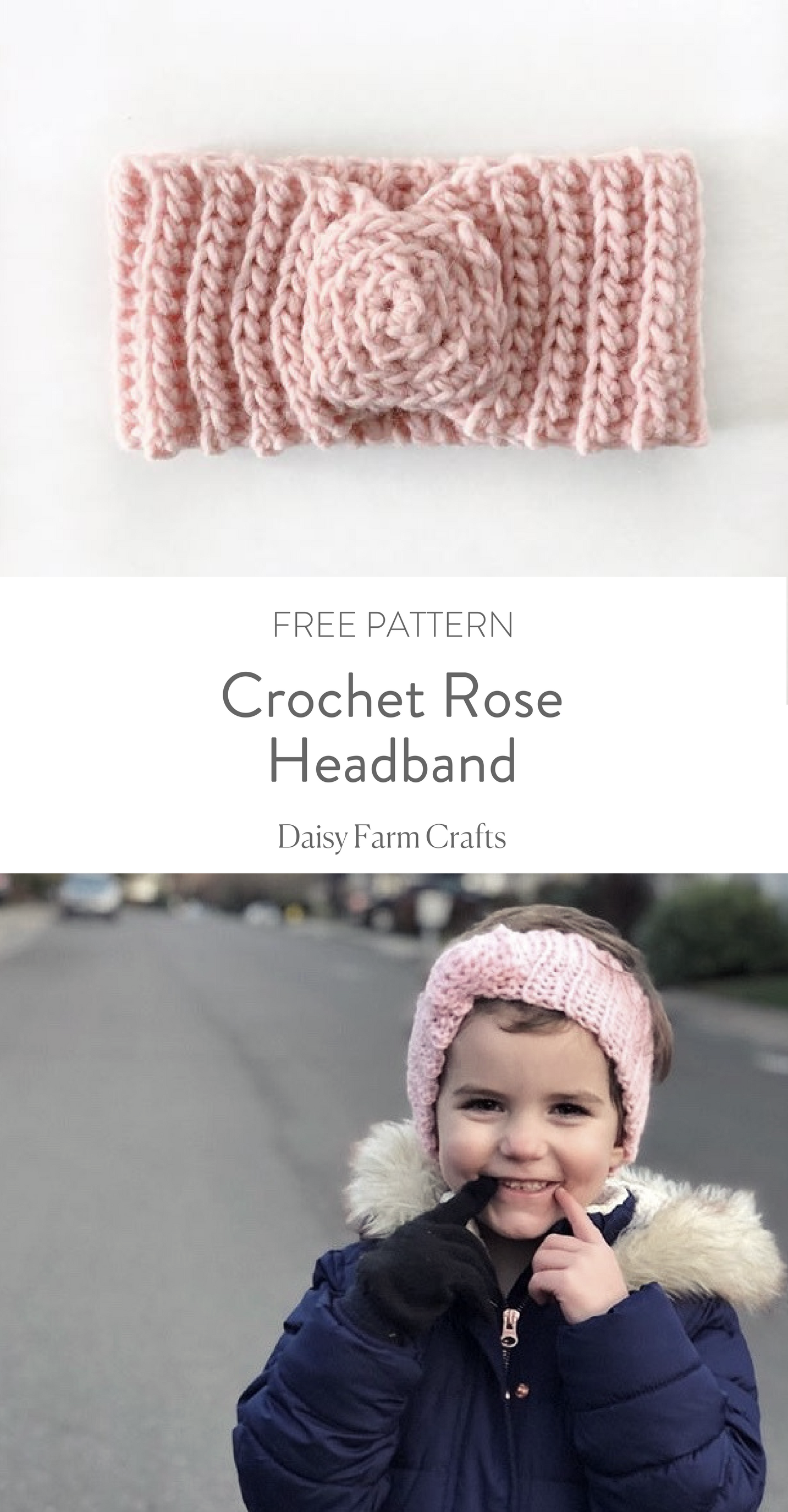 Crochet Rose Headband - Free Pattern | Daisy Farm Crafts | Pinterest ...