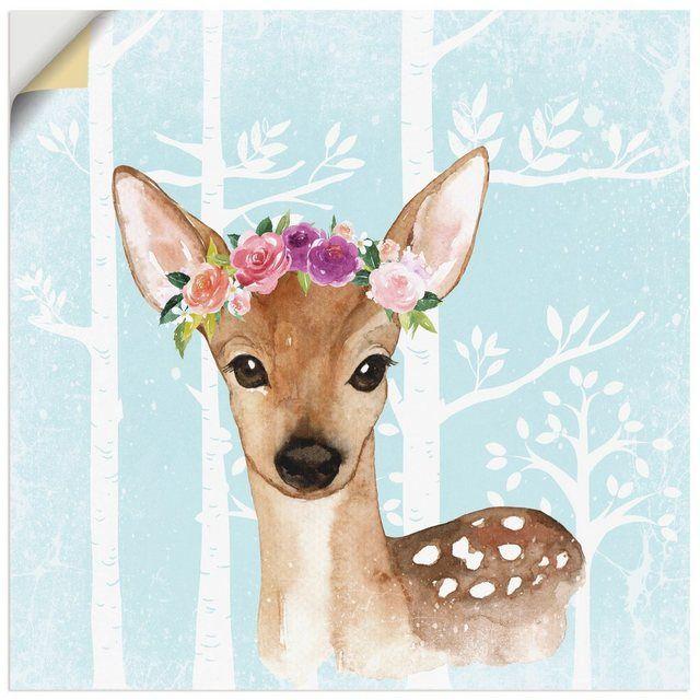 Photo of Artland Premium Wandfolie »UtArt: Wild Reh mit Blumen im Wald Illustration« online kaufen | OTTO