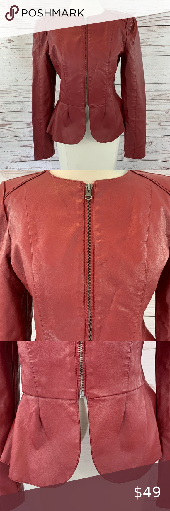 New Look Faux Leather Flare Hips Zipper Cuff New Look Leather Jacket New Look Jackets Brown Faux Leather Jacket [ 1740 x 580 Pixel ]