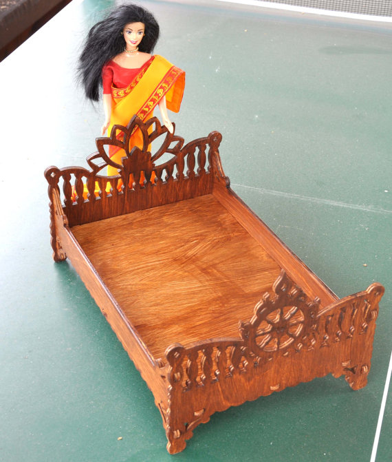 Barbie and Ken family bed in Indian style, Dollhouse miniature furniture, Dollhouse bedroom, barbie size furniture, #indianbeddoll