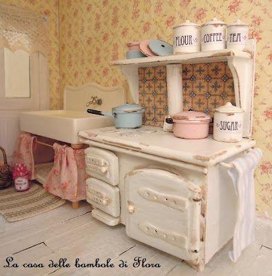 #shabby miniature kitchen #miniaturekitchen