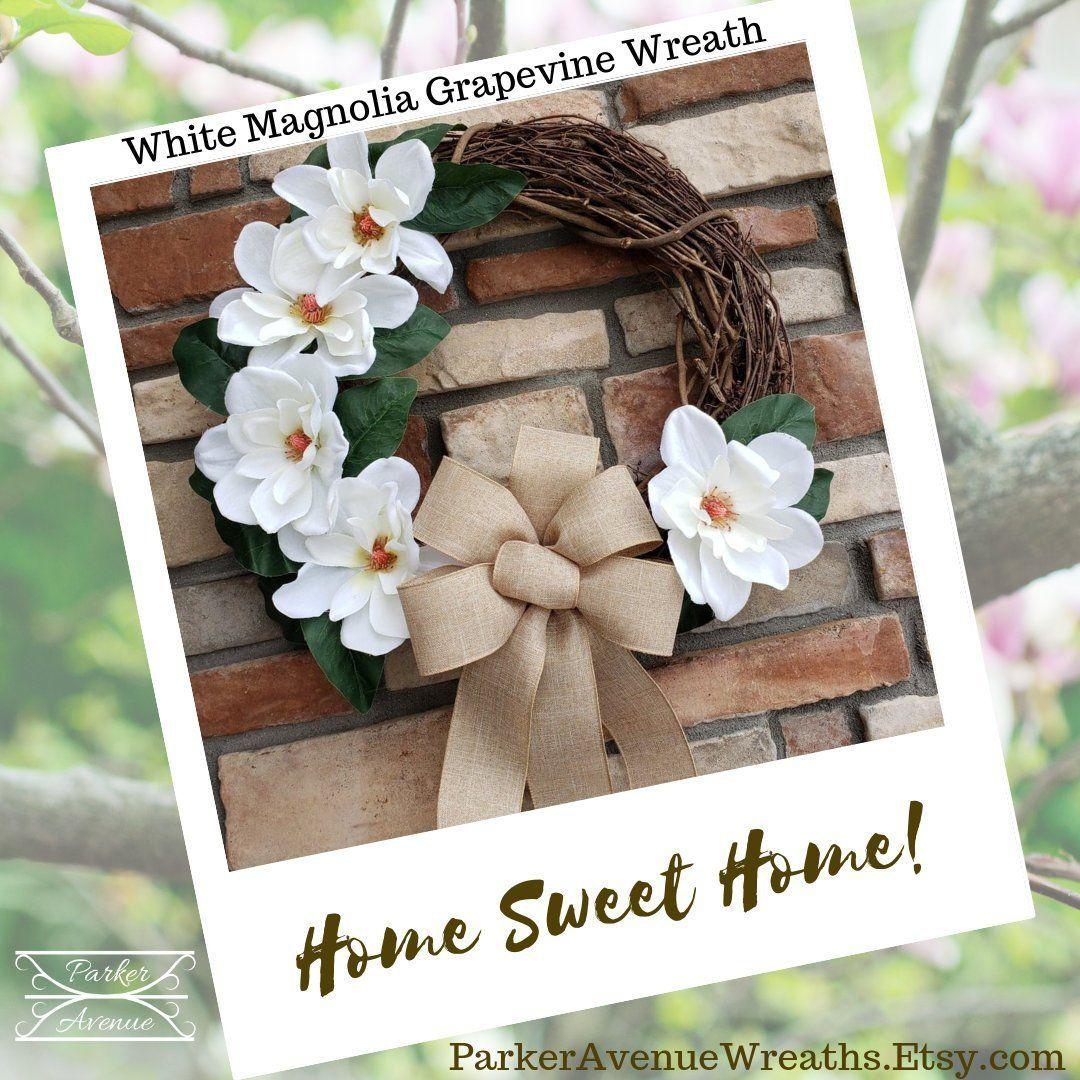 Photo of Ready to Ship! White Magnolia Grapevine Wreath, Farmhouse Decor, Floral Decor, Summer Wreath, Everyday Wreath, Popular Magnolia Wreath