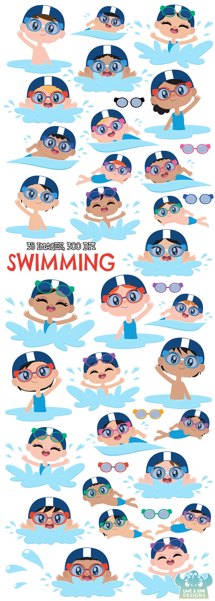 Swimming Clipart Instant Download Vector Art Commercial Use Clip Art Water Toys Pool Water Guns Summer Pool Party Water Balloons Clip Art Vector Art Water Balloons