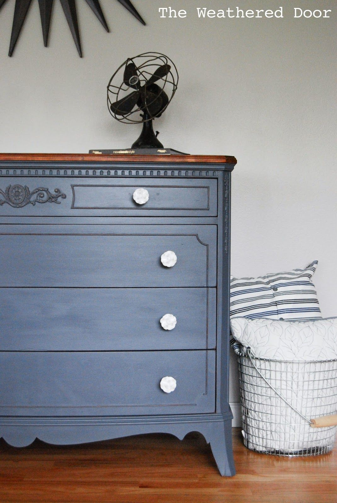 A French Grey Dresser With A Wood Top The Weathered Door Painting Wood Furniture Painted Furniture Furniture [ 1600 x 1071 Pixel ]