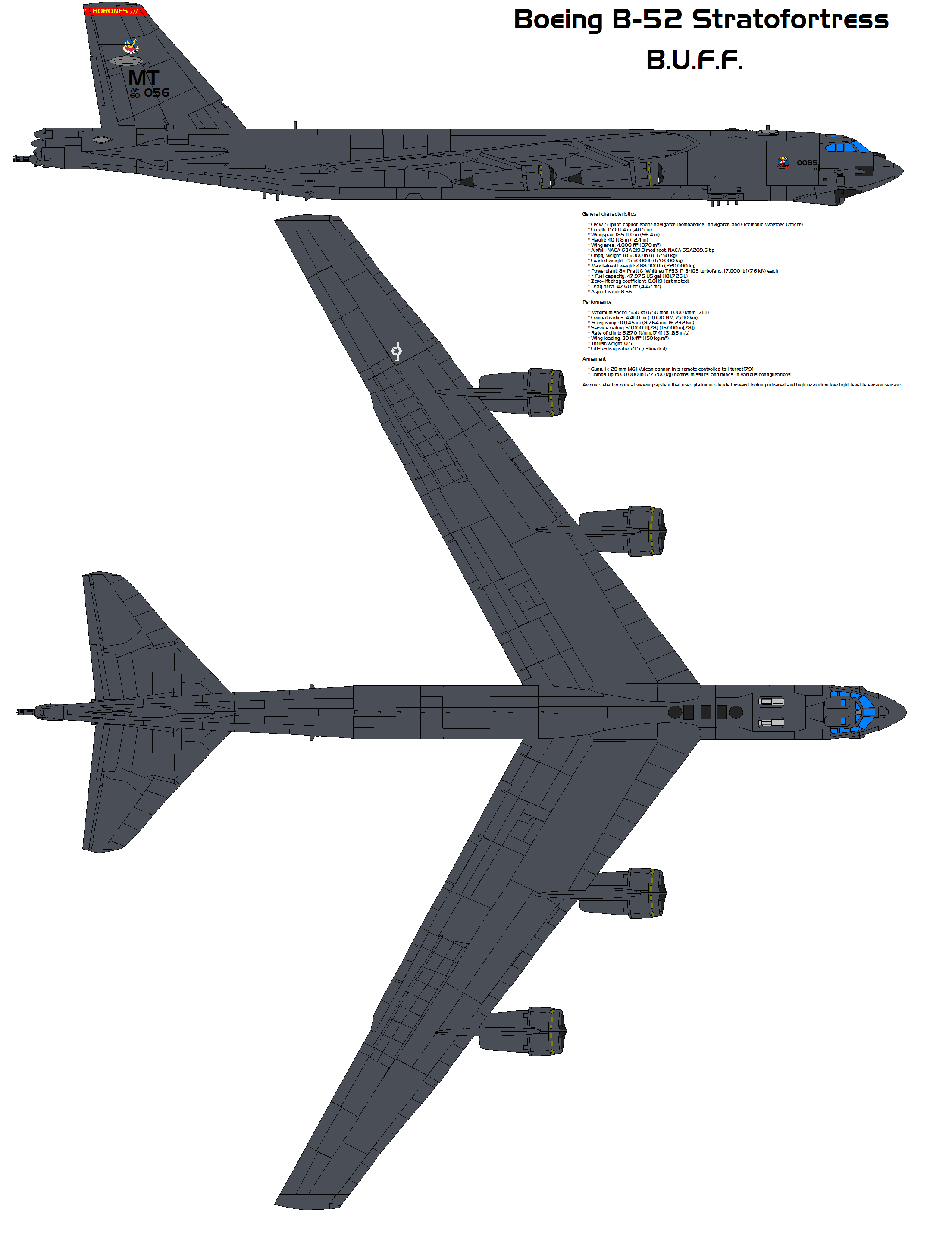 B-52, bomber (Boeing B-52): description, specifications, weapons 92