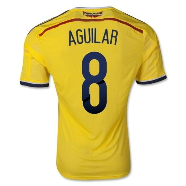 Colombia 2014 AGUILAR #8 Home Soccer Jersey Online with  Special Price: $44.99