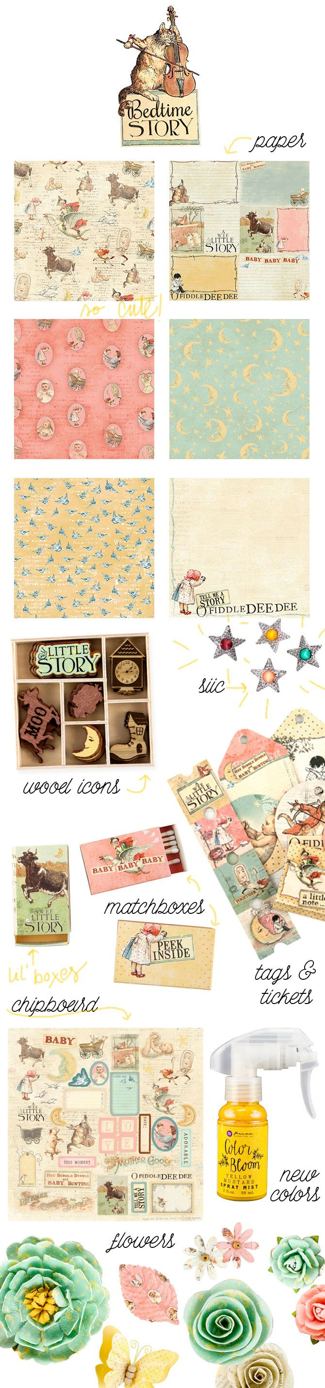 Prima Marketing Bedtime Story Chipboard Stickers /& More