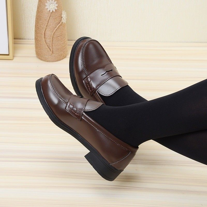 8a33e248f46 Japanese School Uniform Low Flat Heel Student Shoes Leather Maid Lolita  Cosplay