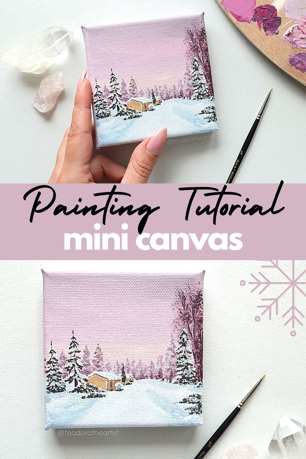 Mini Canvas Painting Tutorial Christmas Landscape Art Easy Ideas For Beginners Paintings On