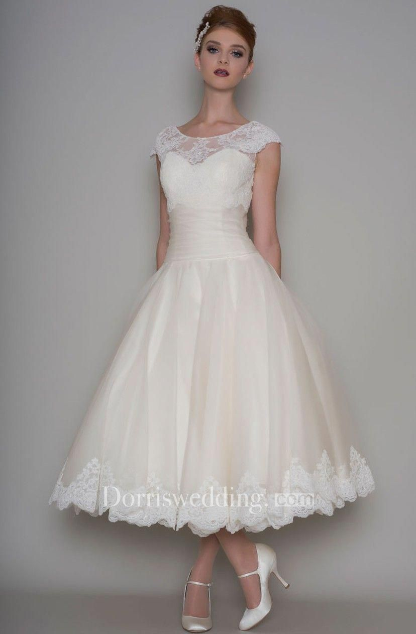 Lace cap sleeve a line wedding dress  TeaLength ALine Scoop Neck Appliqued Cap Sleeve Tulle Wedding