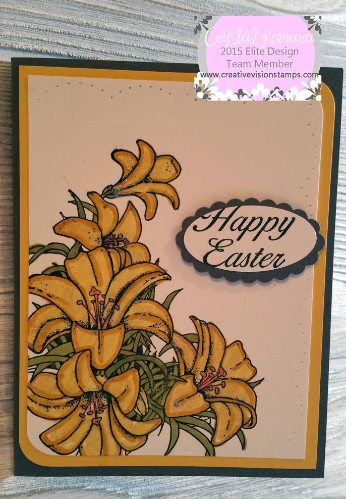 handmade greeting card of an easter lilycrystal komara