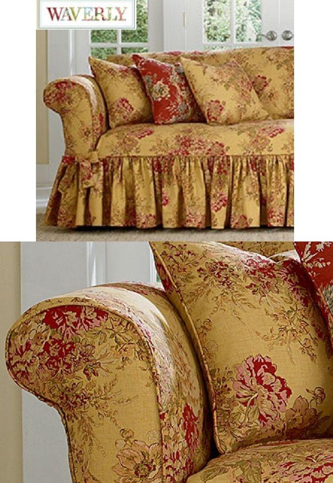 Miraculous Waverly Loveseat Slipcover Ballad Bouquet Tea Stain Sure Fit Theyellowbook Wood Chair Design Ideas Theyellowbookinfo
