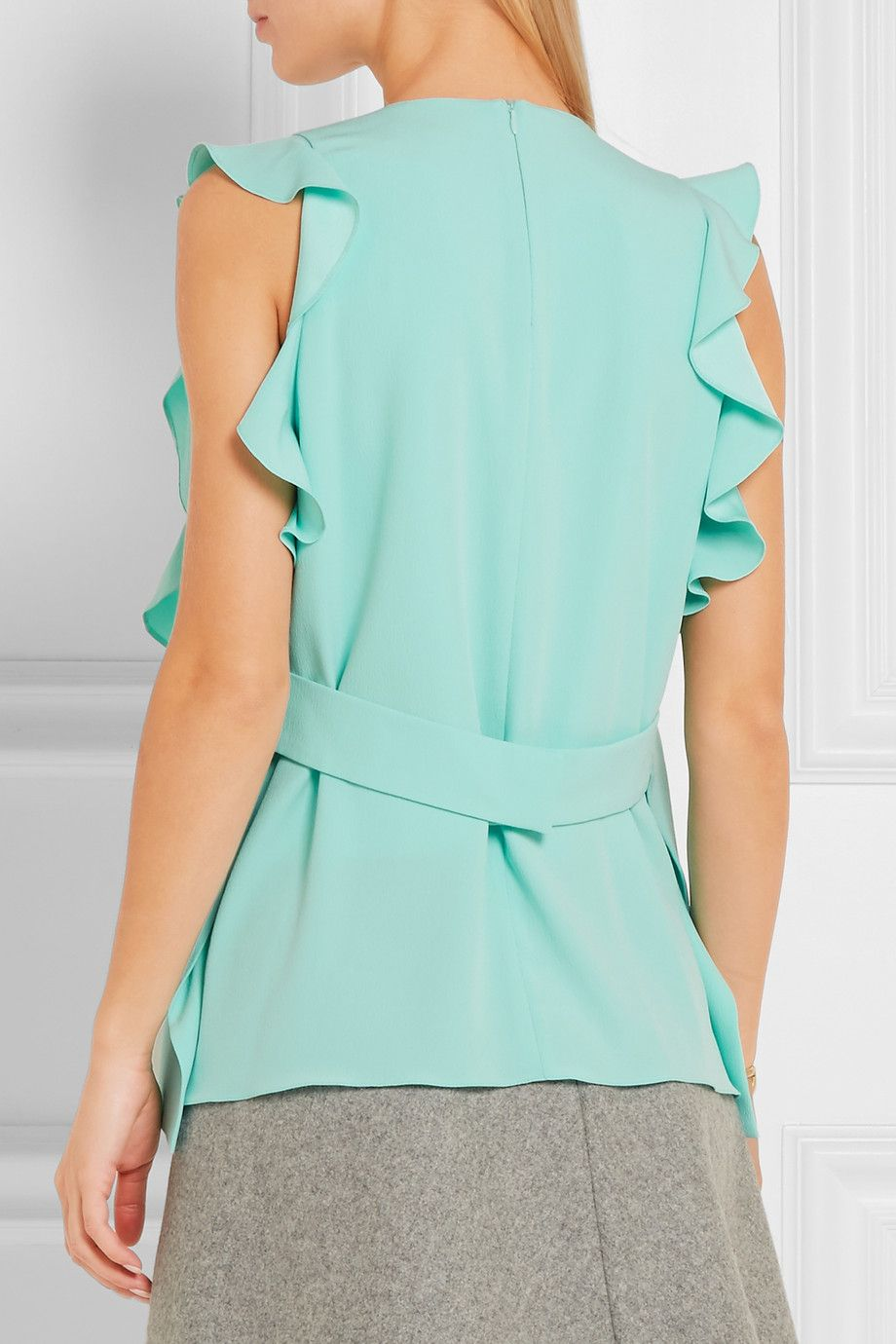 Mint crepe Concealed zip fastening along back 100% polyester Dry clean
