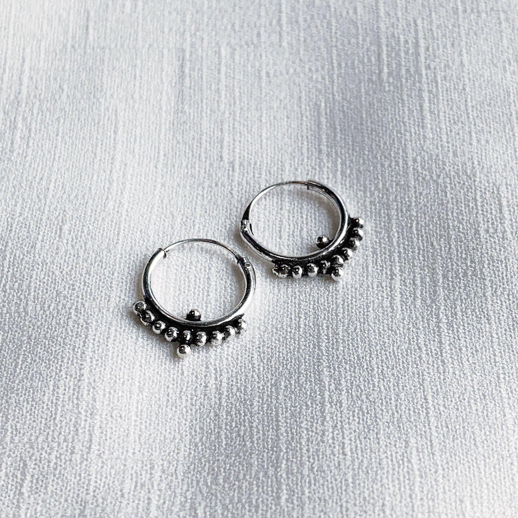 925 Sterling Silver Tribal Dotted Hoop Earrings Small Bohemian Indian Beaded Earrings Tribal Hoop Earrings Boho Hoop Earrings Ethnic Hoops