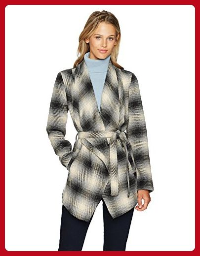 08433d47b Jack by BB Dakota Women's Mower Light Plaid Drape-Front Wrap Jacket ...