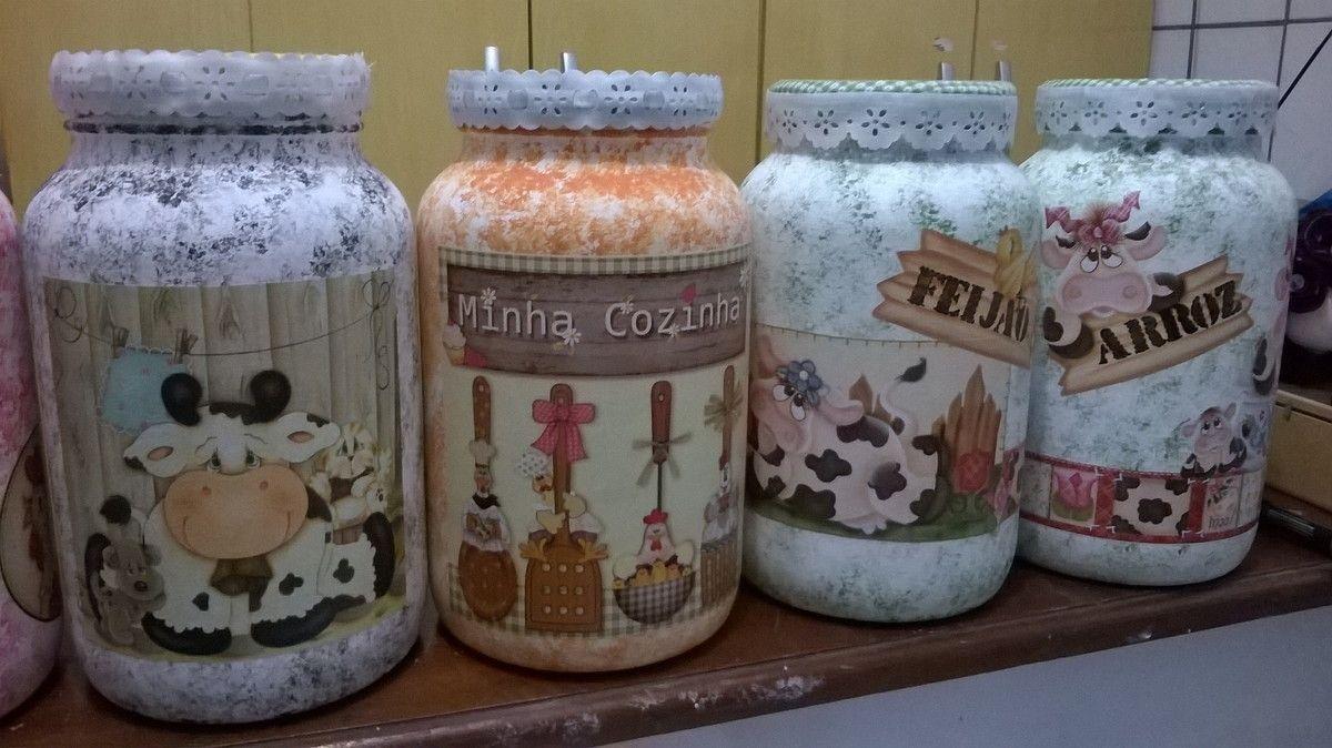 Pote De Vidro Para Acondicionar Mantimentos Decoupage Em Vidro  ~ Potes Decorativos Para Cozinha