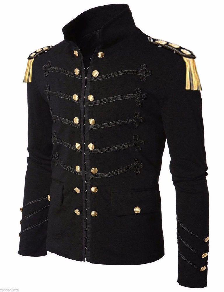 Men's Unique Modern Black Embroidery Black Military Napoleon