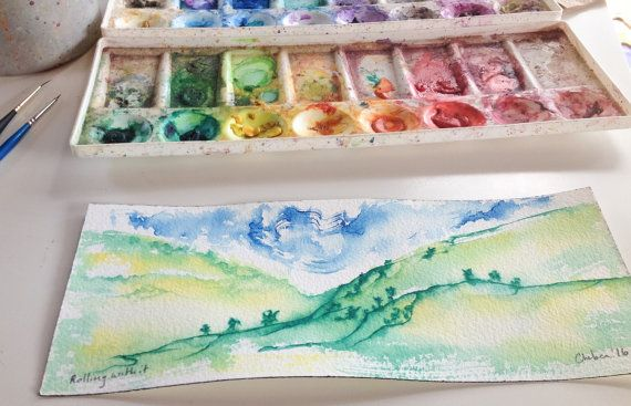 Rolling with it  Original Watercolor  3.9in x by waterCOLORpaper