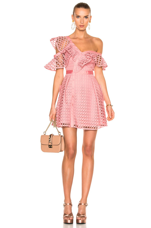 Image 1 of self-portrait Lace Frill Mini Dress in Pink | D R E S S ...