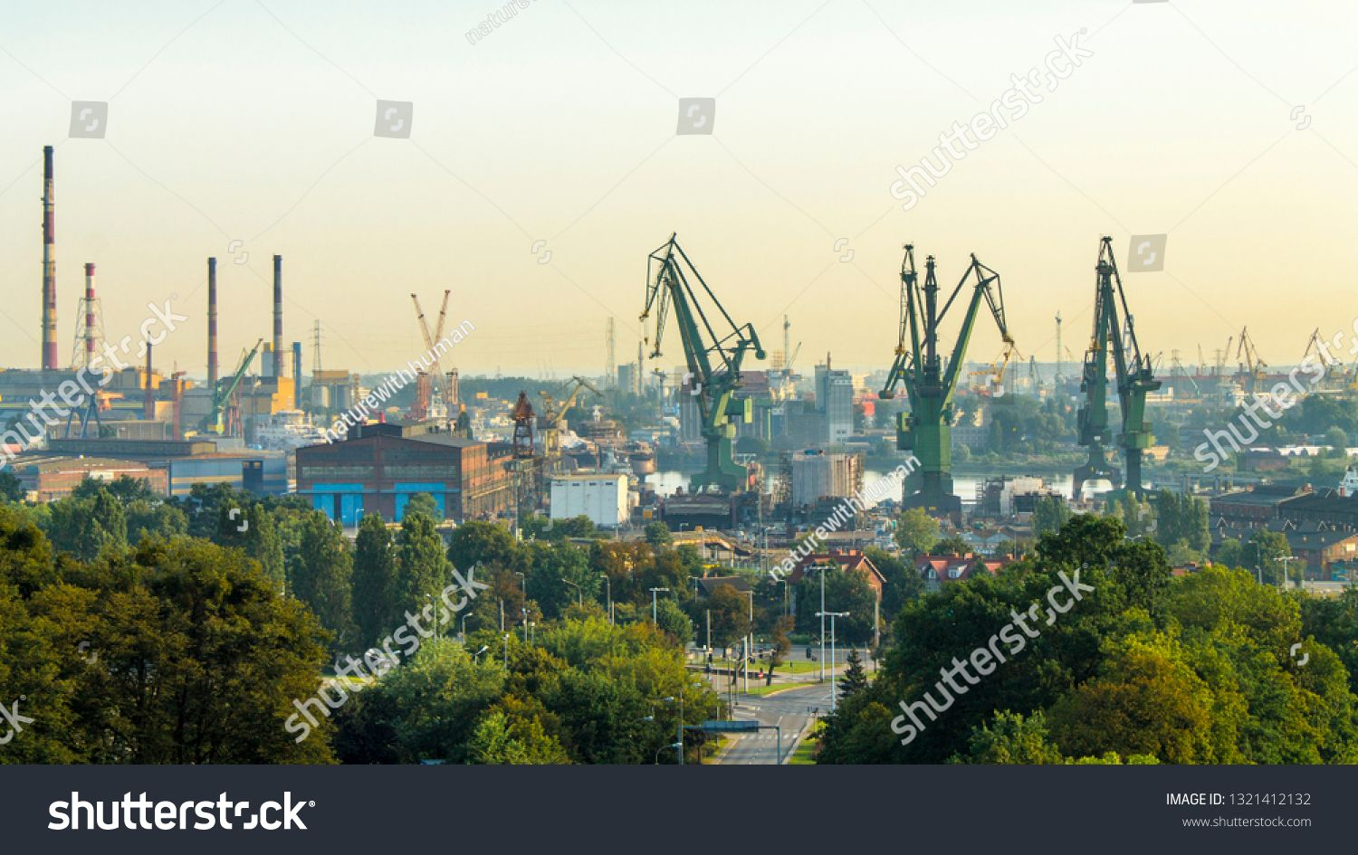 View Of The Shipyard And Port Industry Part Of The City Of