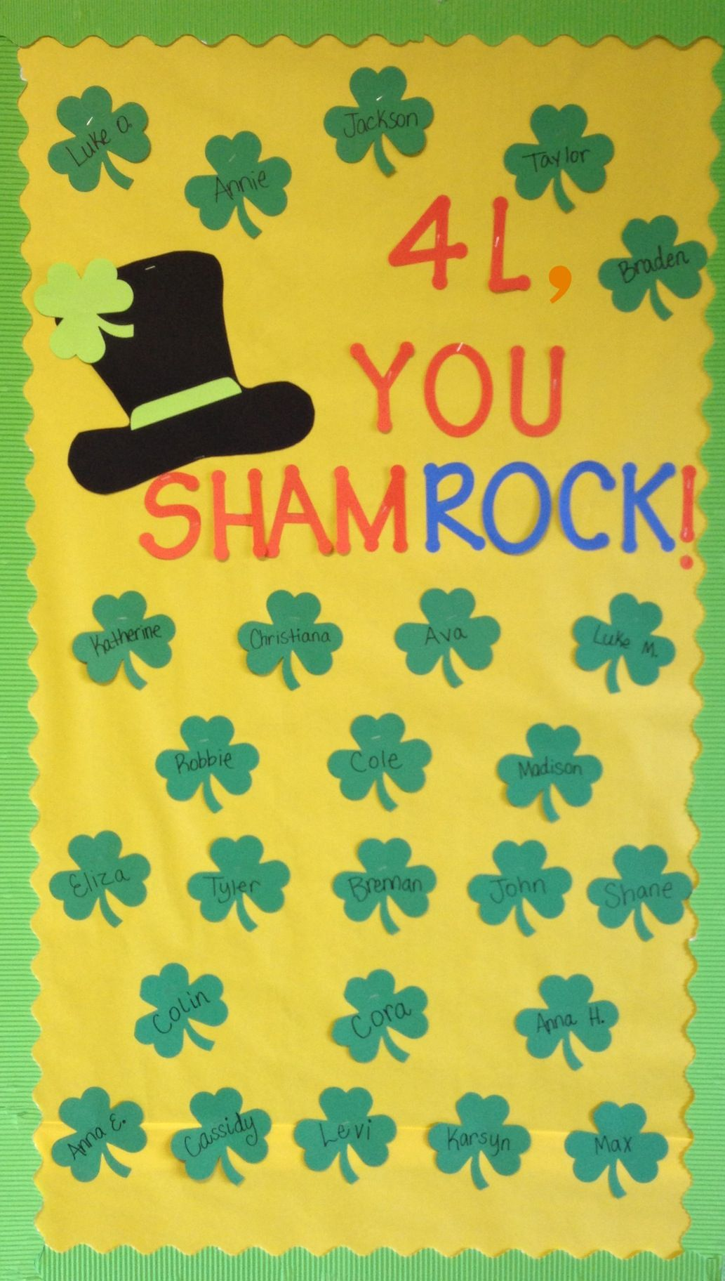 Classroom Door Decoration Ideas For March ~ You shamrock simple march door or bulletin board st