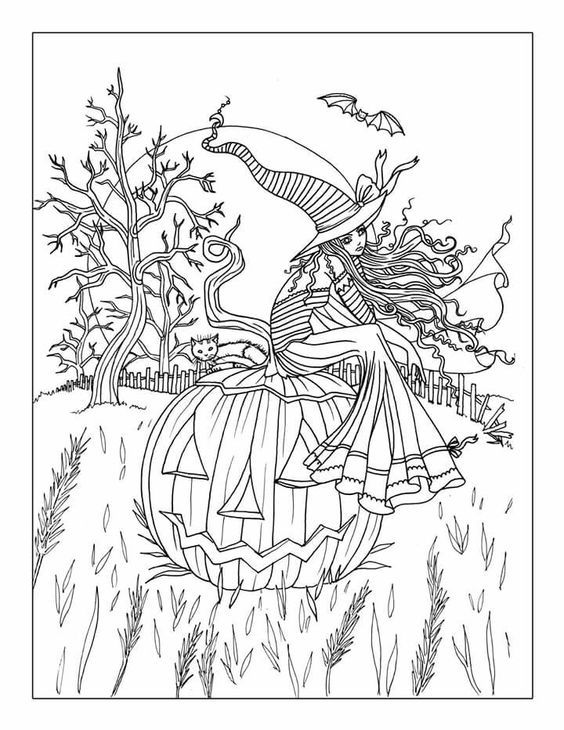 kanoko egusa | Fall coloring pages, Halloween coloring book, Cat ... | 730x564