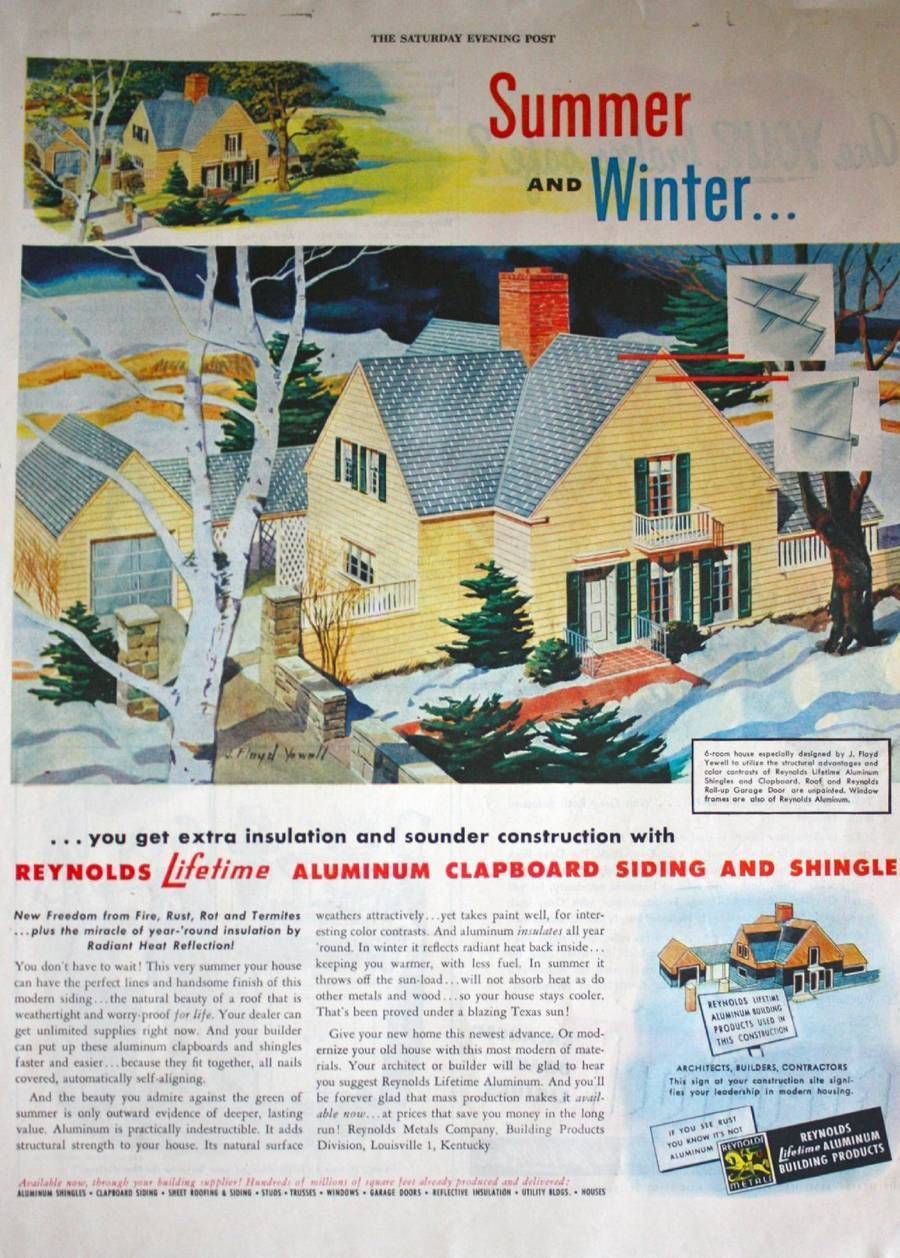 1947 Reynolds Aluminum Clapboard Siding Shingles Yellow