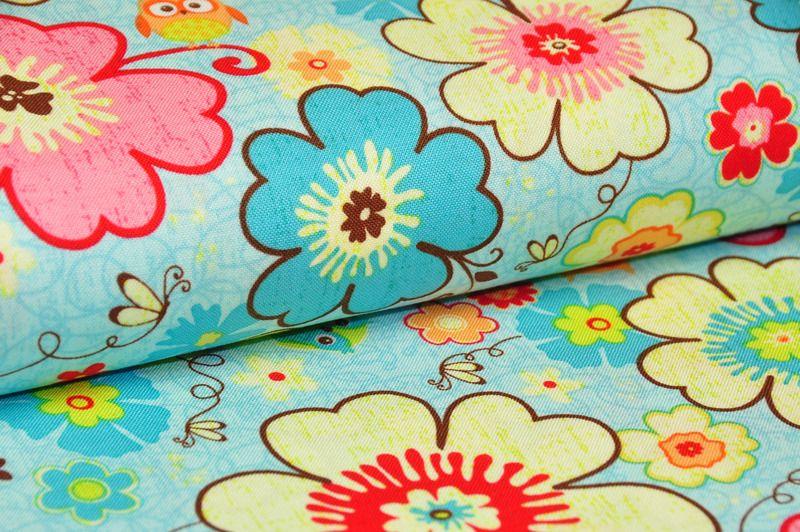 """Stoff Blumen - 0,5 m """"HAPPY FLAPPERS"""" BLUMEN/EULEN R.Blake - ein Designerstück von kleinerStern bei DaWanda"""