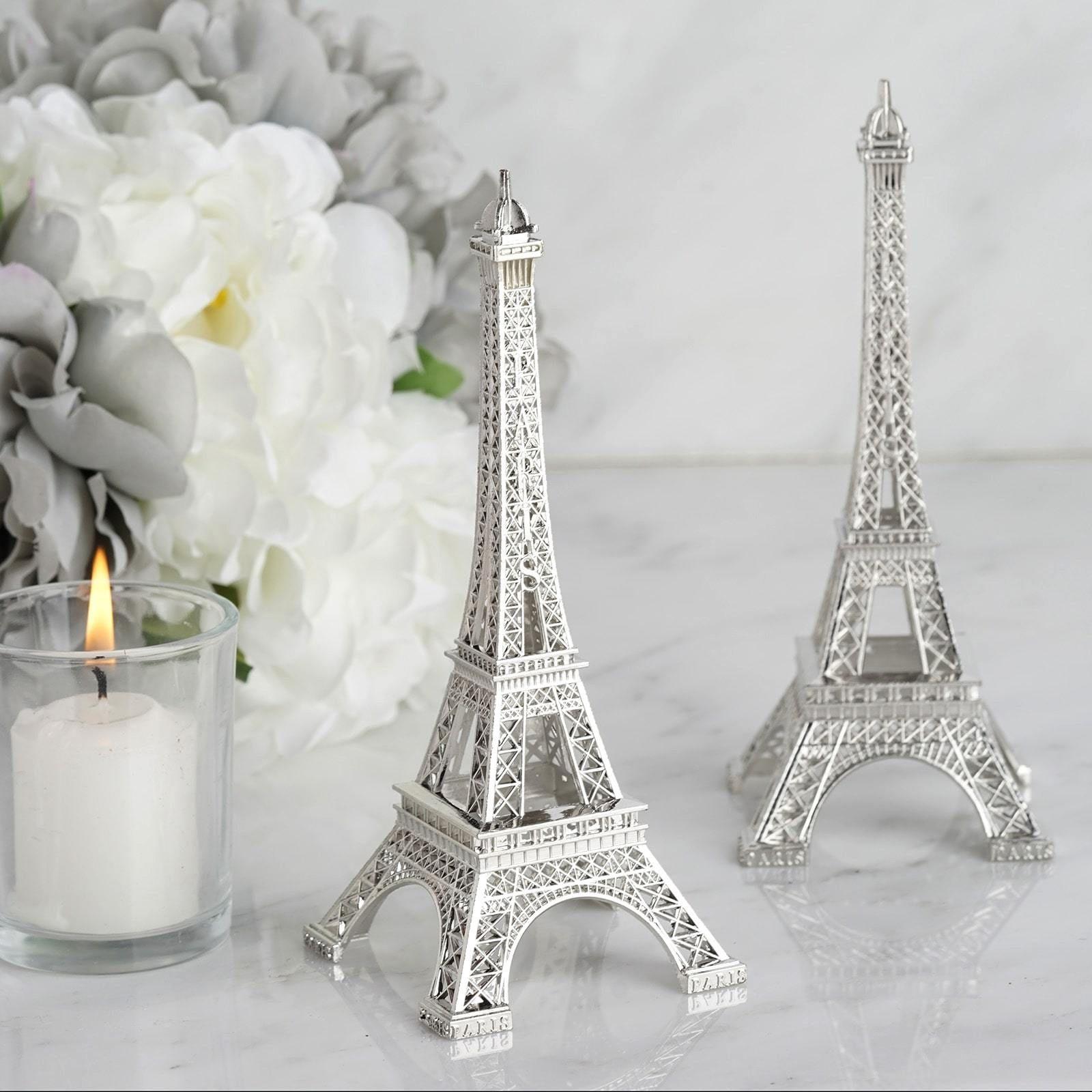 6 Silver Eiffel Tower Centerpiece Eiffel Tower Cake Topper Decorative Figurine Eiffel Tower Centerpiece Tower Centerpiece Paris Theme Centerpieces