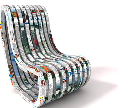 Chaise Entierement Faite Avec Du Papier Recycle De L Eau Et De La Farine Design Recyclers Chaise En Carton Meuble Recyclage Mobilier En Carton