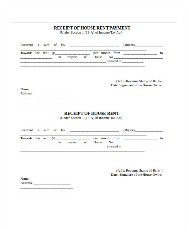 rent receipt template free word pdf documents download Home - house rent slips