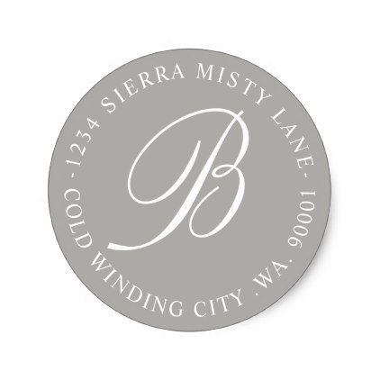 Monogram initial address or wedding grey classic round sticker