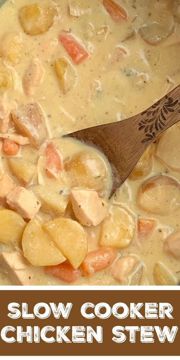 Crock Pot Creamy Chicken Stew | Chicken Stew | Stew Recipes | Slow Cooker Recipes | Chicken Stew made right in the slow cooker! So simple to make, creamy, delicious, comfort food, that the entire family will devour. Carrots, potatoes, and chunked chicken is cooked in a creamy sauce with ranch seasoning, chicken broth, cream of chicken soup, and sour cream in the crock pot. #stewrecipe #recipeoftheday #dinnerideas #slowcooker #crockpot #chickenrecipes #healthycrockpots