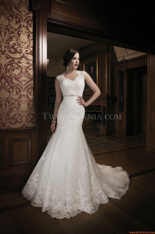 Elegante rund Ausschnitt A-linie Brautkleider aus Softnetz mit ...