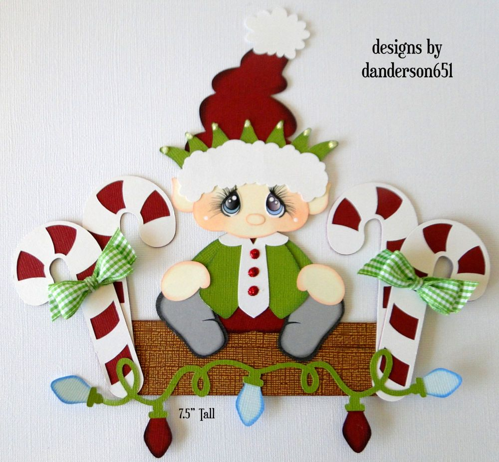 Christmas Elf Die Cuts Paper Piecing PreMade Border Scrapbook Album ...