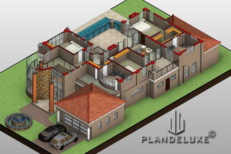 4 Bedroom Double Story House Plan Modern Home Designs Plandeluxe In 2020 Bedroom House Plans House Plans Tuscan House Plans