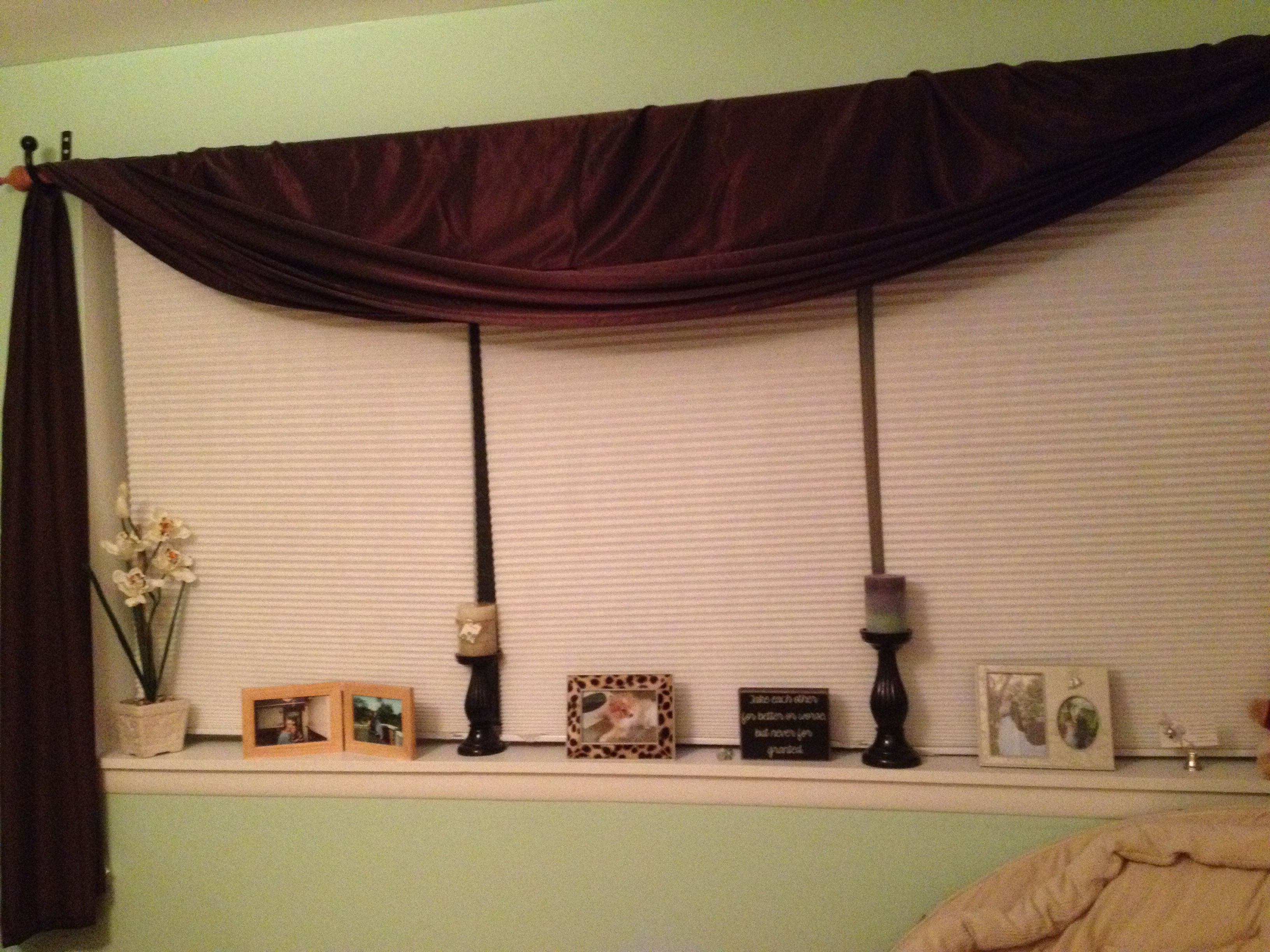 3 Panel Window With Photos Frames Candle Sticks And Word Quote Blocks On The Sill Brown Curtain Matching Comforter Howtomakecurtains