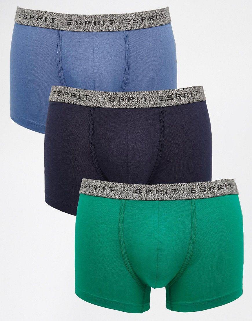 Super seje Esprit 3 Pack Trunks - Multi Esprit Trusser & Hipsters til Herrer i dejlige materialer