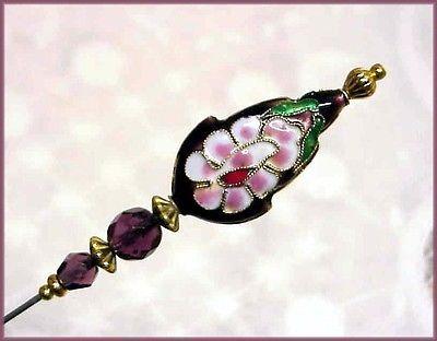 Purple Cloisonne Gold Tone Hat Pin