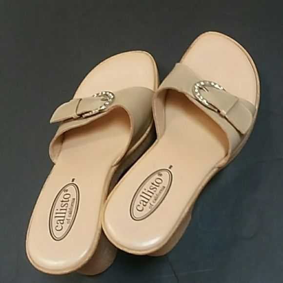 CALLISTO OF CALIFORIA WEDGE SANDAL NWT Beige with a rhinestone buckle new from NORDSTROM RACK never worn too small perfect colr and style for everything and everywhere CALLISTO OF CALIFORNIA Shoes Wedges