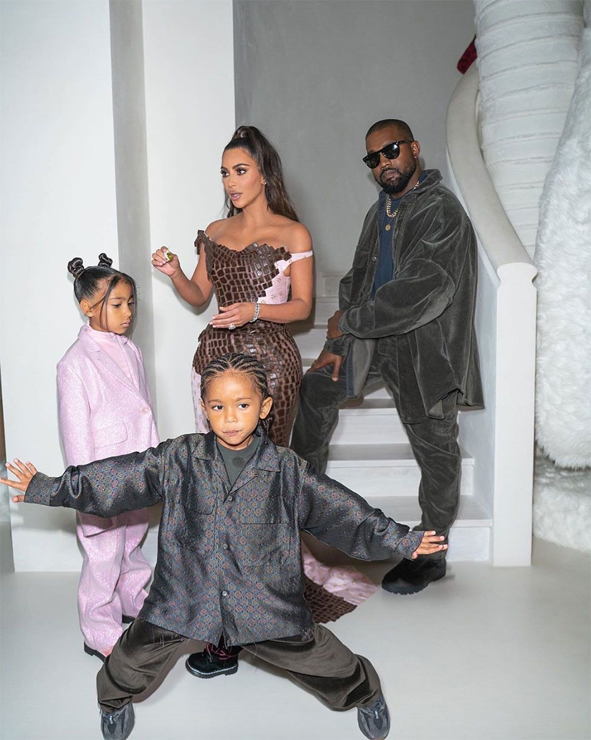Kim Kardashian And Kanye West Share The West Family Christmas Card 2019 With All Four Kids In 2020 Kim Kardashian And Kanye Kardashian Kids Kim Kardashian Family