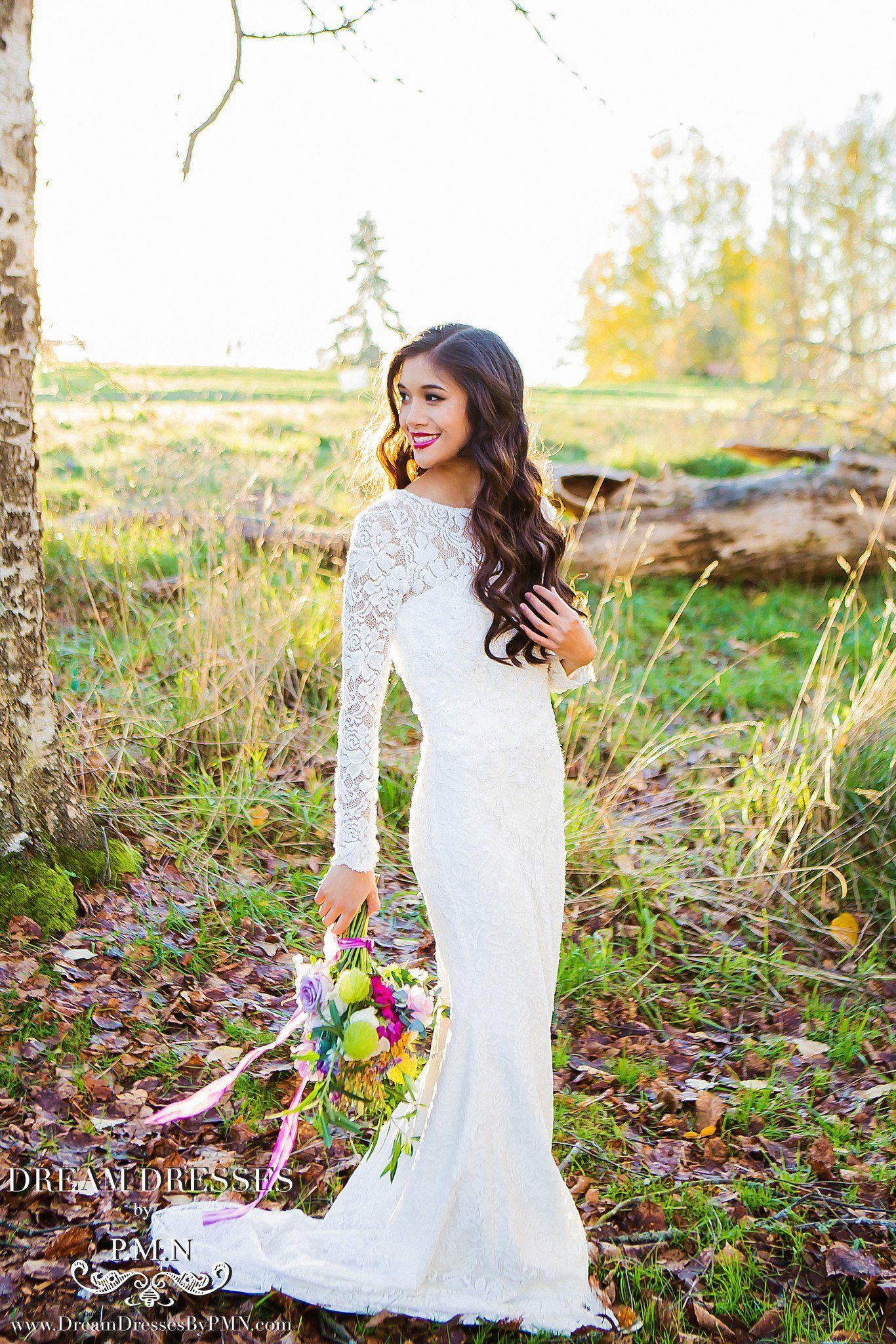 Long sleeve all over lace wedding dress ss dream dress