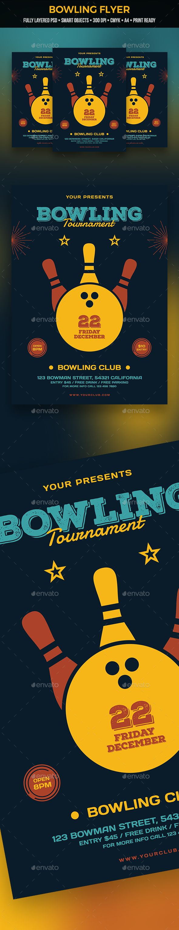 Bowling Flyer  Font Logo Fonts And Graphics