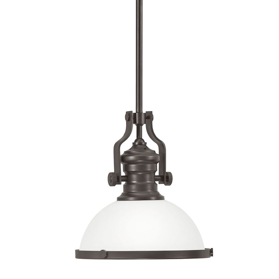 Portfolio 12 2 In W Aged Bronze Pendant Light With Frosted Shade At Lowes
